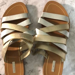 Louise Et Cie slip on gold and silver flat sandal